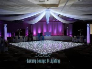 Luxury Lounge & Lighting, Alpharetta — Our exclusive glossy white starlit dance floor, sheer ceiling drapery, crystal chandelier, LED up lighting, intelligent lighting.