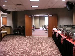 Club Level Meeting Room 1, Value City Arena - Jerome Schottenstein Center, Columbus — Lounge area of Meeting Room 1.  Set for buffet.