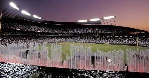 Kauffman Stadium Kansas City Royals, Kansas City — The water spectacular pictured here is the largest privately funded fountain in the world.