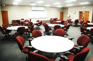 1 Classroom, The Atrium At National Composite Center, Dayton — One of 2 classrooms, Classroom A is perfect for any meeting seating up to 50 people.