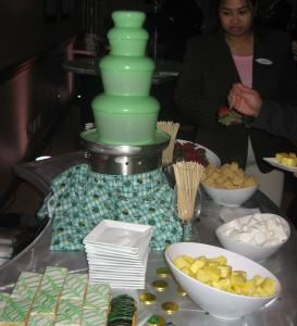 Full Service Small Chocolate Fondue Fountain (50 to 150 guests), The Chocolate Chick, Herndon — Small Green Chocolate Fountain