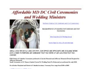 Washington, DC Civil Marriage Ceremonies/Wedding Ministers